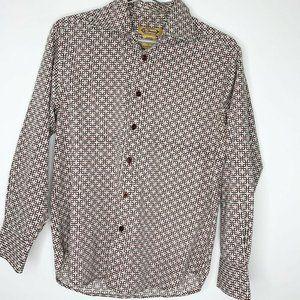 VTG 70's Y Chrome Brown Geo Print Shirt Sz S